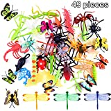 TUPARKA 49 PCS Plastic Insect Toys Bugs Figure Toys Surtido de Insectos realistas Butterfly Beetle Dragonfly...